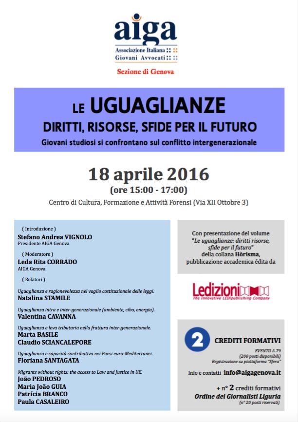 """Seminario """"Le uguaglianze: diritti, risorse, sfide per il futuro"""