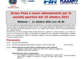 Green Pass e nuovi adempimenti per le società sportive dal 15 ottobre 2021